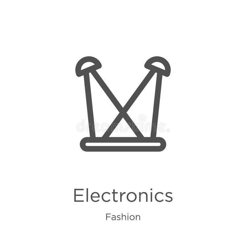 elektroniki ikony wektor od mody kolekcji Cienka kreskowa elektronika konturu ikony wektoru ilustracja Kontur, cienieje lini? ilustracja wektor