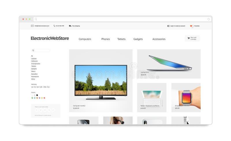 Elektroniki webstore miejsca szablonu mockup odizolowywający, ilustracja wektor