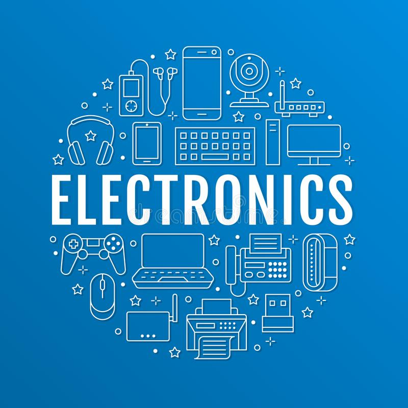 Elektronikkreisplakat mit flacher Linie Ikonen Wifi-Internetanschluss-Technologiezeichen Computer, Smartphone, Laptop stock abbildung