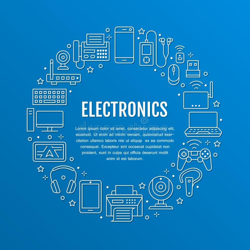 Elektronikkreisplakat mit flacher Linie Ikonen Wifi-Internetanschluss-Technologiezeichen Computer, Smartphone, Laptop lizenzfreie abbildung