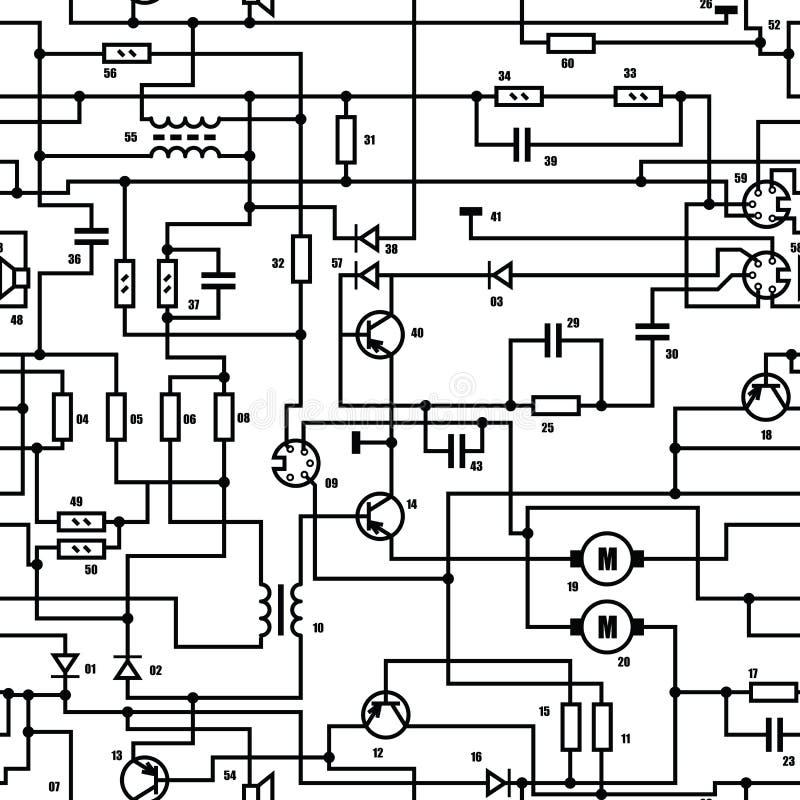 Elektronisch diagram - naadloze vectortextuur vector illustratie