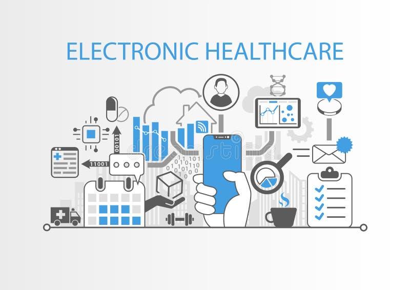 Elektronisch gezondheidszorgconcept die met hand moderne vattings vrije smartphone houden royalty-vrije illustratie