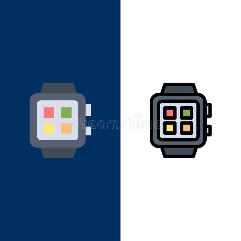 Elektronisch, Huis, Smart, Technologie, Horlogepictogrammen Vlak en Lijn vulde Pictogram Vastgestelde Vector Blauwe Achtergrond vector illustratie