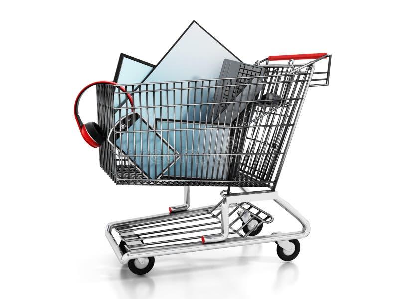 Elektronisch materiaal binnen het boodschappenwagentje stock illustratie