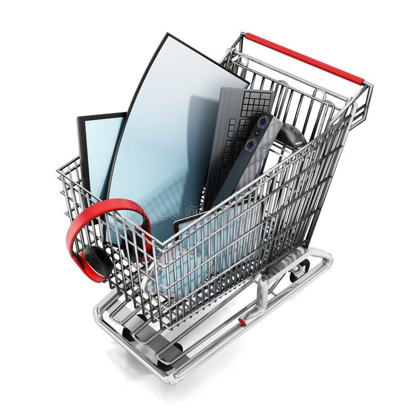 Elektronisch materiaal binnen het boodschappenwagentje royalty-vrije illustratie