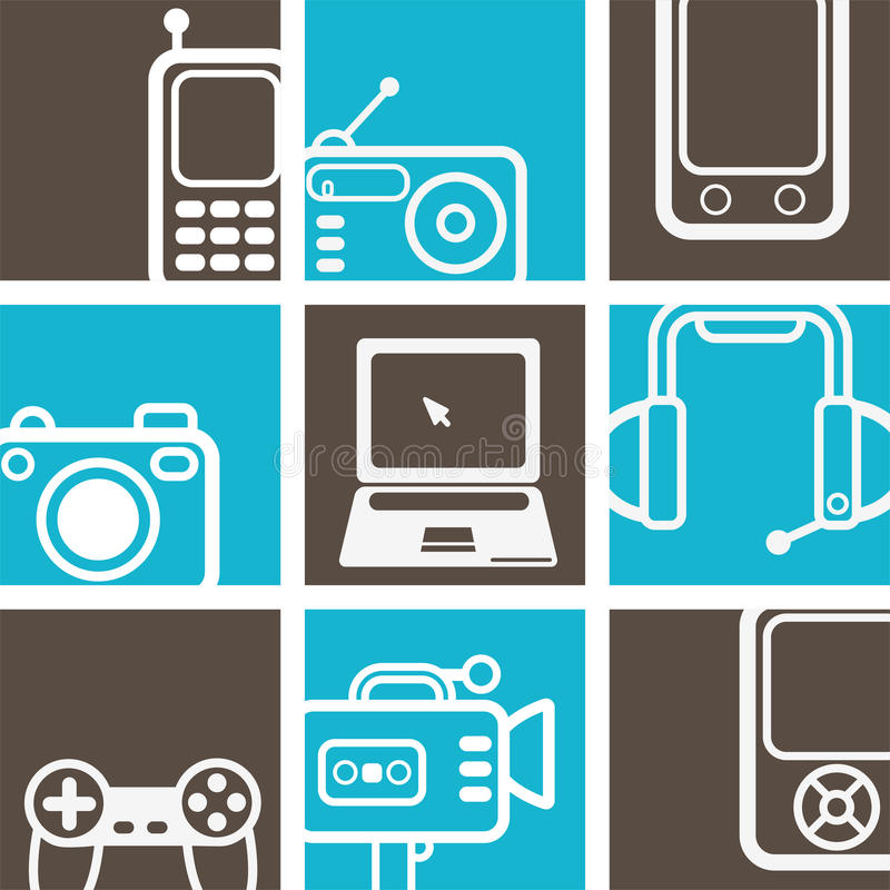 Elektronisch pictogrammenontwerp vector illustratie