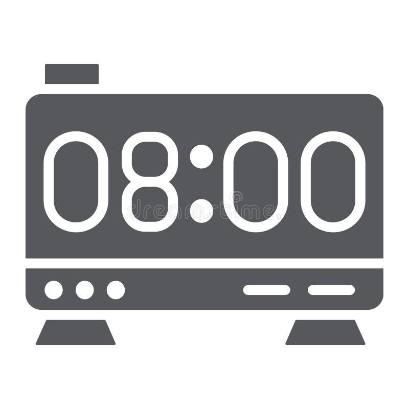 Elektronisch wekker glyph pictogram, digitaal en uur, het teken van de klokvertoning, vectorafbeeldingen, een stevig patroon op e royalty-vrije illustratie