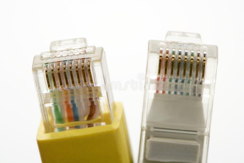 Elektronische aansluting kabel ethernet rj45 stock afbeelding