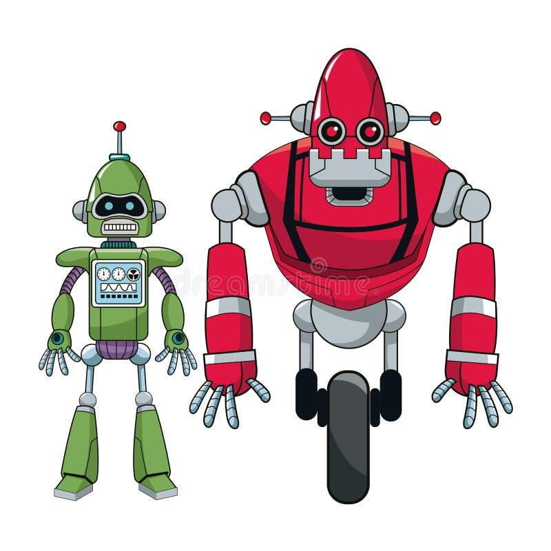 Elektronische androïde van paarrobots stock illustratie