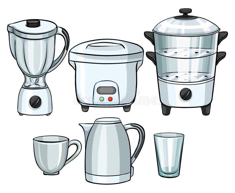 Elektronische Ausrüstung mit in der Küche lizenzfreie abbildung