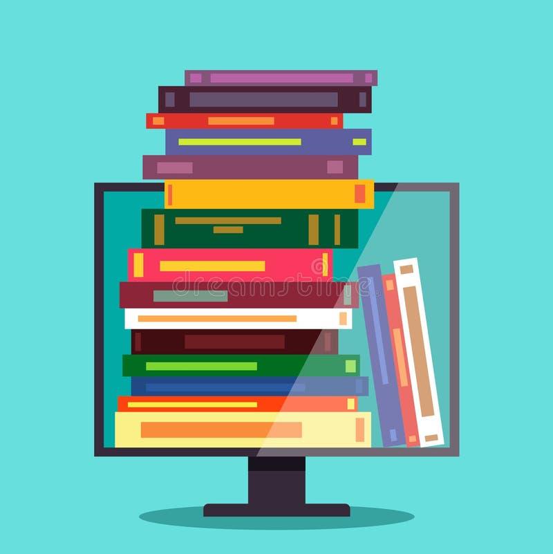Elektronische bibliotheek, elektronische boeken Het concept online onderwijs Vlakke vector vector illustratie