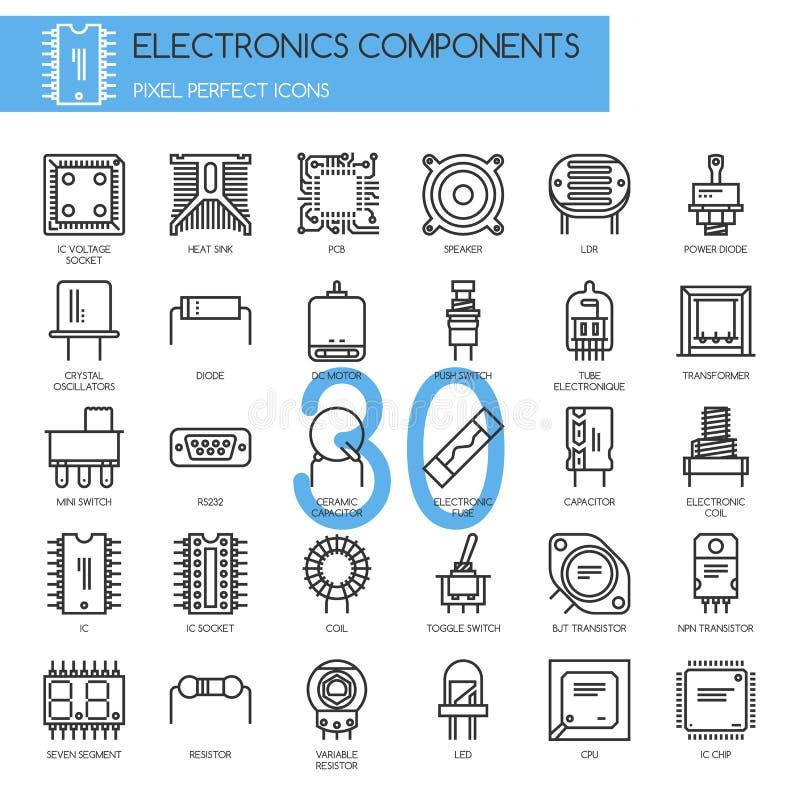 Elektronische componenten, dunne geplaatste lijnpictogrammen stock illustratie