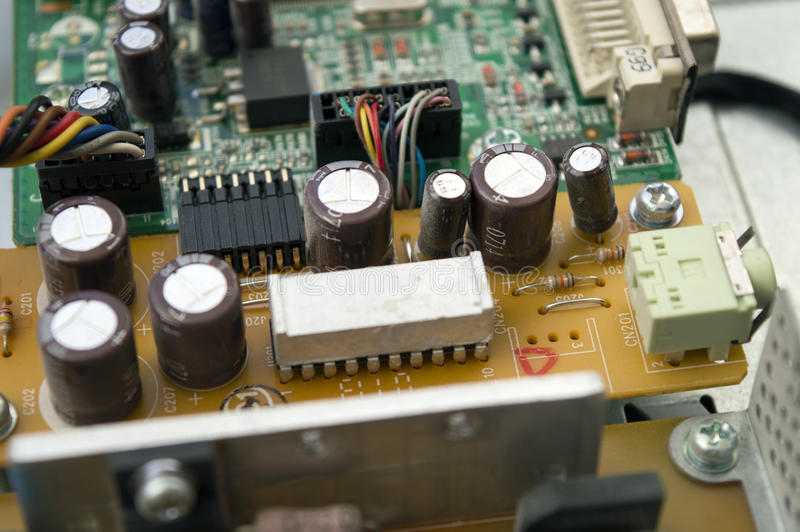 Elektronische componenten van PC-microchip stock afbeeldingen