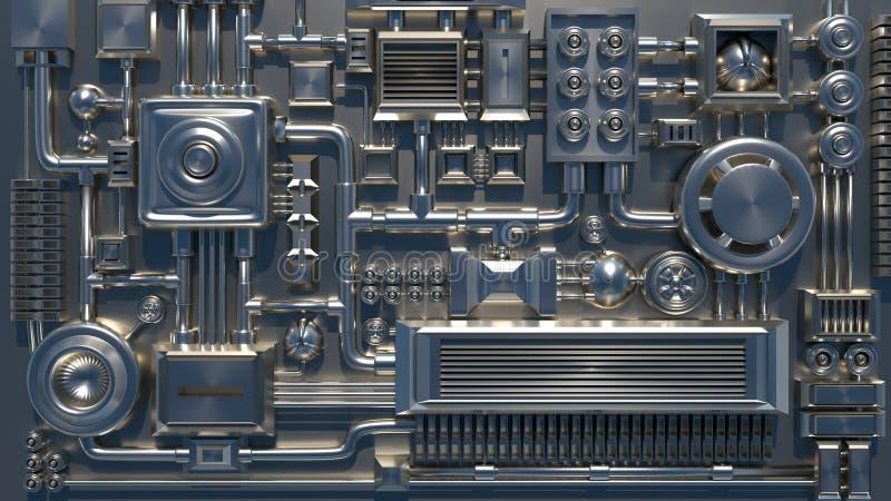 Elektronische details, delen, buizen en draden 3D geef textuur terug stock illustratie