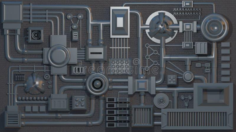 Elektronische details, delen, buizen en draden 3D geef textuur terug royalty-vrije illustratie