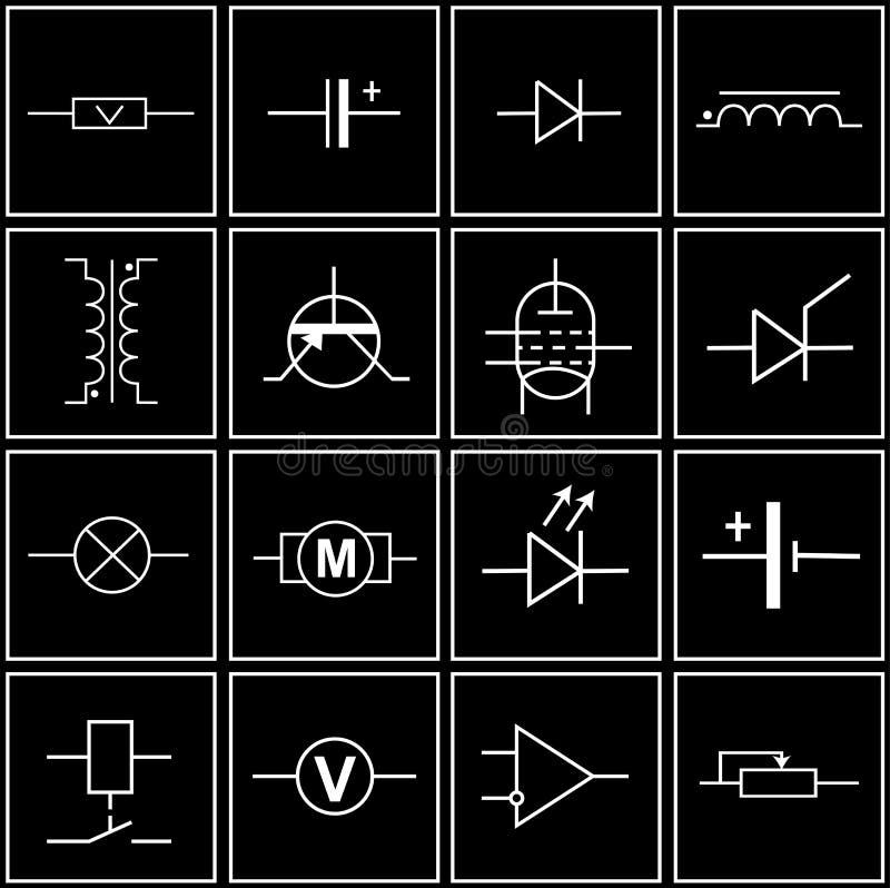 Elektronische Elemente vektor abbildung. Illustration von zeichen ...