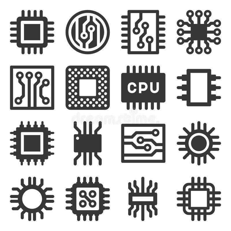 Elektronische Geplaatste Chipscpu Pictogrammen Vector vector illustratie