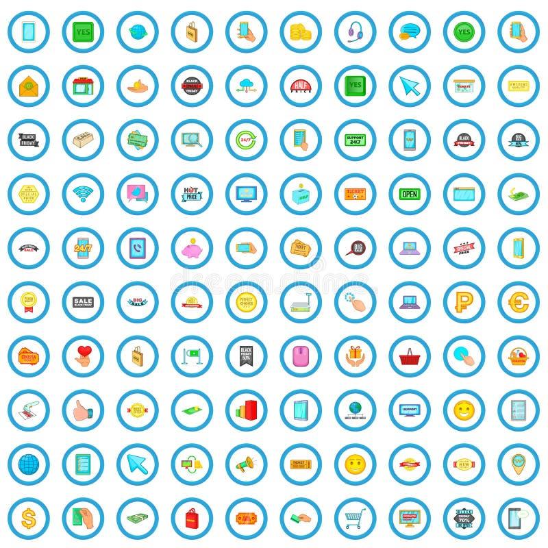 100 elektronische geplaatste handelspictogrammen, beeldverhaalstijl stock illustratie