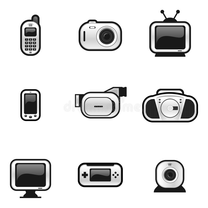 Elektronische Geräte stock abbildung. Illustration von cellphone ...