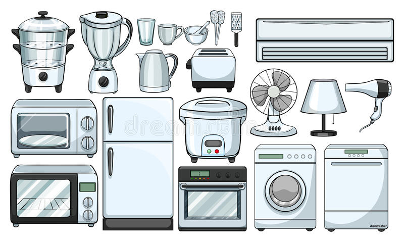 Elektronische Geräte benutzt in der Küche vektor abbildung