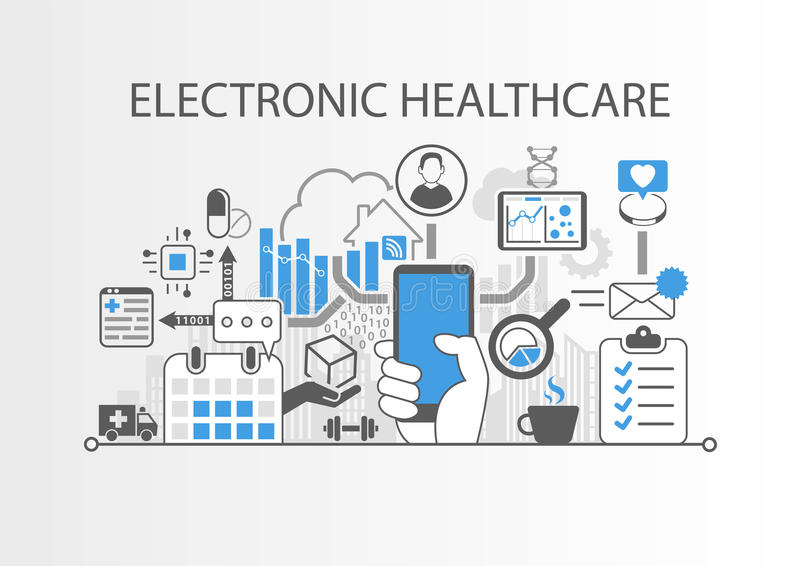 Elektronische gezondheidszorg of illustratie e-gezondheid als achtergrond stock illustratie