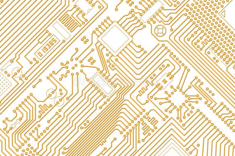 Elektronische gouden grafiek - witte achtergrond stock illustratie