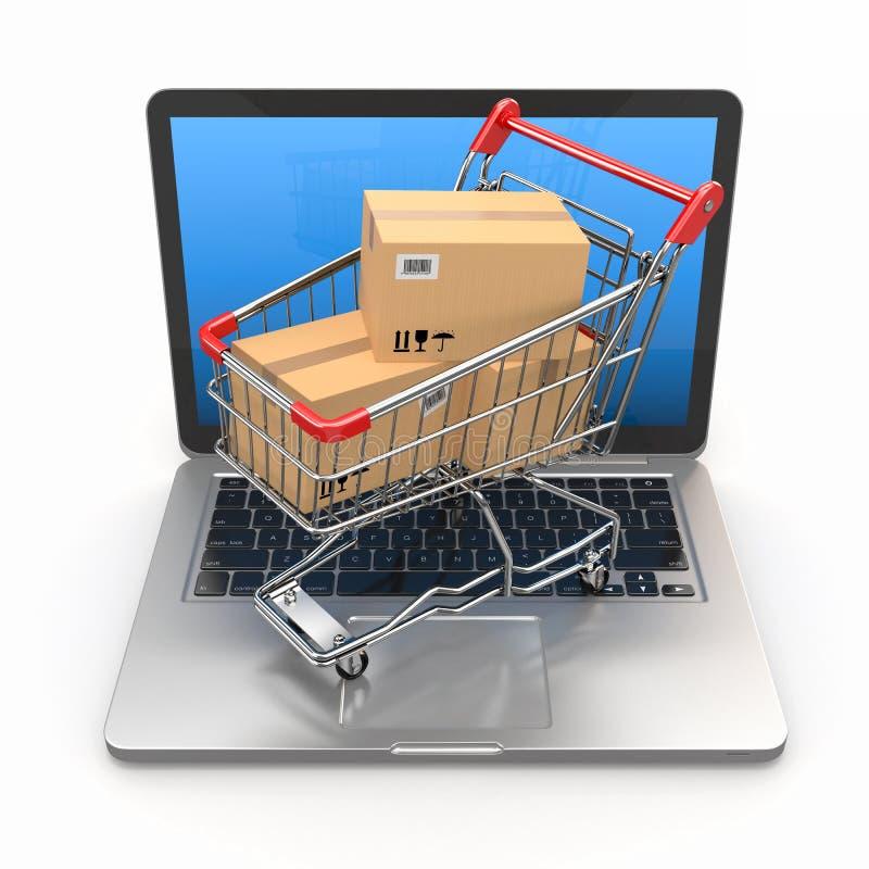 Elektronische handel. Boodschappenwagentje op laptop. royalty-vrije illustratie