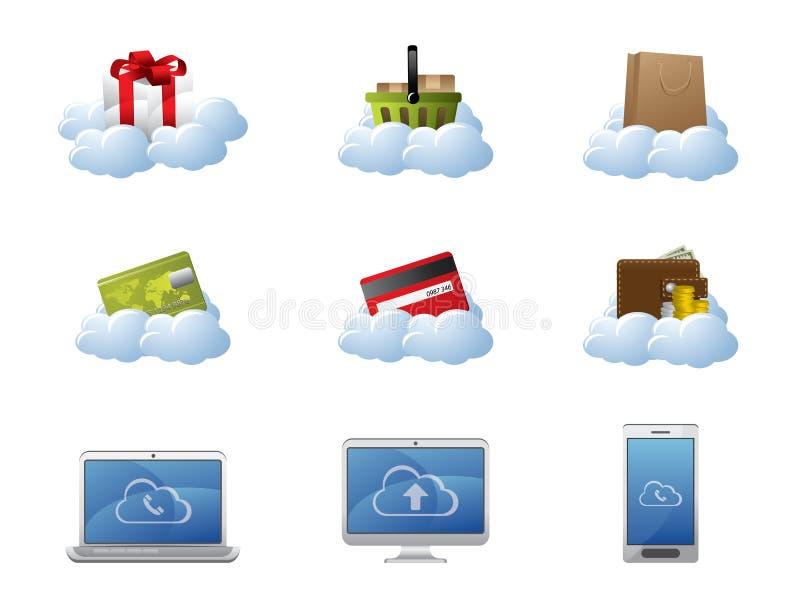 Elektronische handel in de Gegevensverwerking van de Wolk royalty-vrije illustratie
