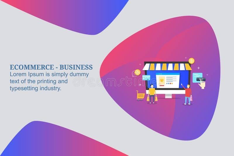 Elektronische handel die, online kopend, het kopen online producten, online detailhandel die, mensen van e-opslag kopen winkelen  stock illustratie