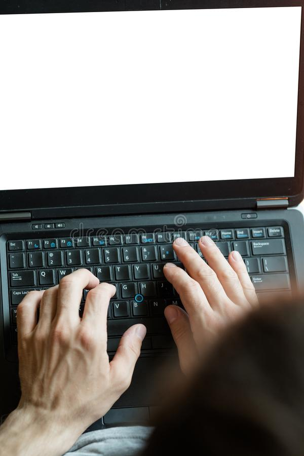 Elektronische handel het online digitale marketing laptop scherm stock foto