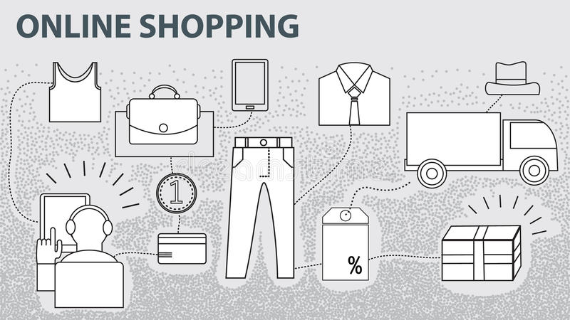 Elektronische handel het online winkelen, de betaling van het gebruikersproces royalty-vrije illustratie