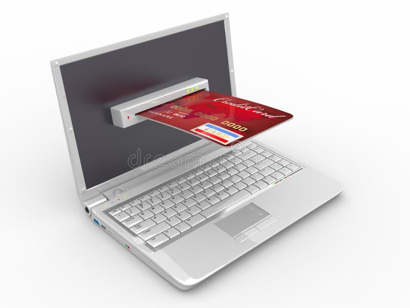 Elektronische handel. Laptop en creditcard. vector illustratie