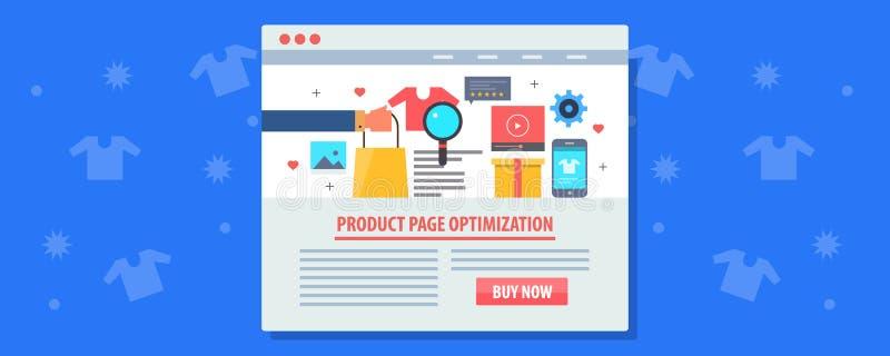 Elektronische handel marketing - de optimalisering van de productpagina, het concept van elektronische handelseo Vlakke ontwerp v vector illustratie