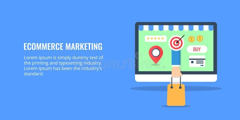 Elektronische handel marketing - online opslag - E-businessconcept De vlakke banner van de ontwerpelektronische handel stock illustratie