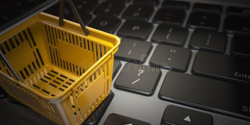 Elektronische handel, online winkelend, Internet-aankopenconcept geel royalty-vrije illustratie