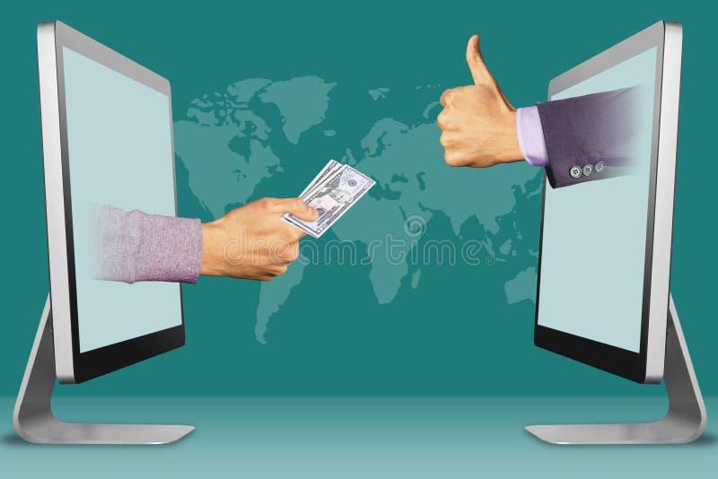 Elektronische handelconcept, twee handen van vertoningen hand met contant geld omhoog geld en duimen, als 3D Illustratie stock foto