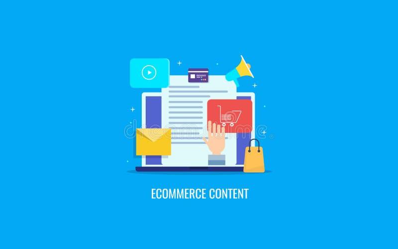 Elektronische handelinhoud marketing, inhoudsoptimalisering, digitaal reclameconcept Vlakke ontwerp vectorbanner royalty-vrije illustratie