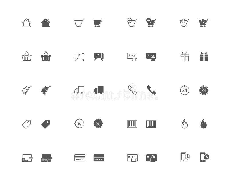 Elektronische handeloverzicht en gevulde pictogramreeks vector illustratie