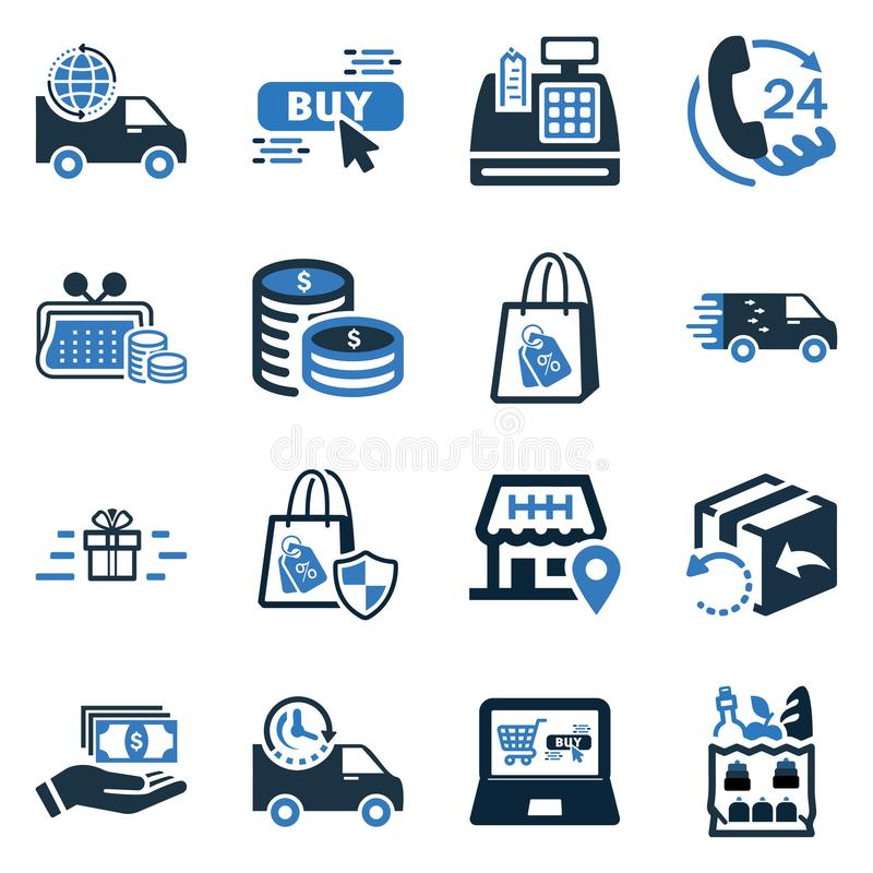Elektronische handelpictogram Geplaatst/online de reeks van het elementenpictogram vector illustratie