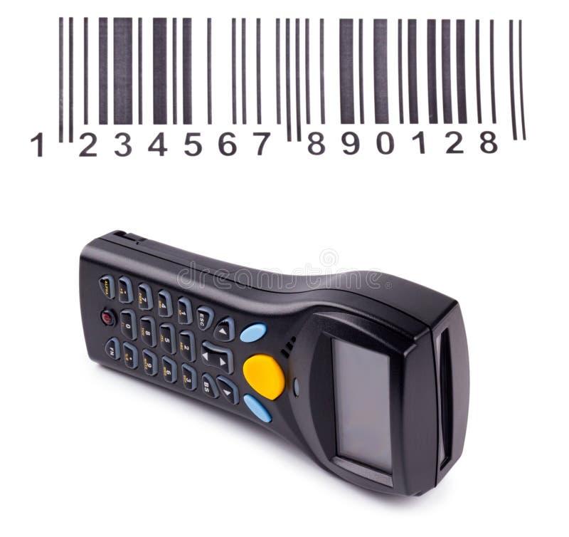 Elektronische handscanner van streepjescodes stock afbeeldingen