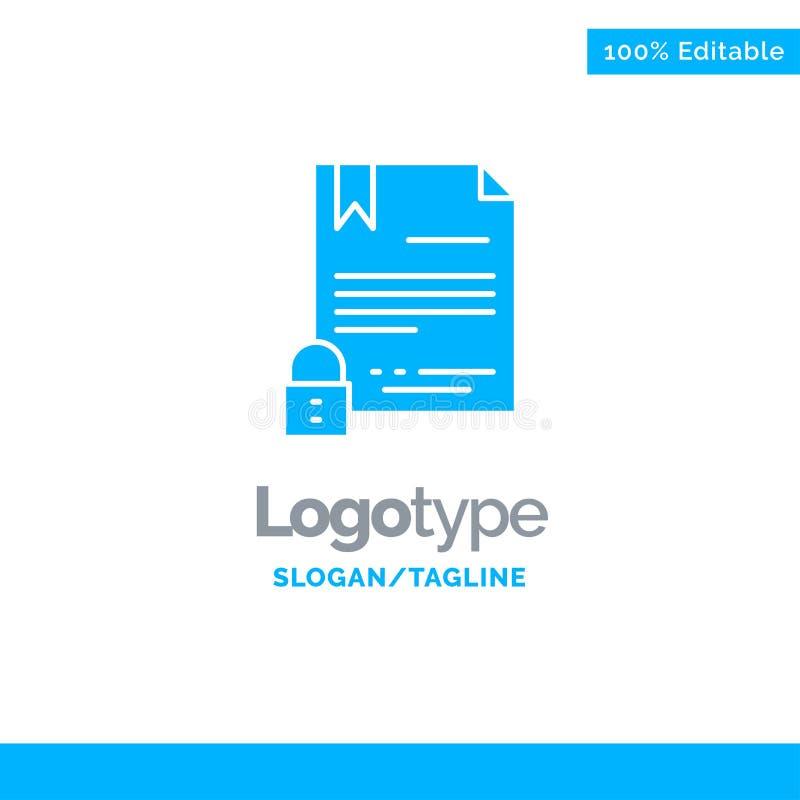 Elektronische Handtekening, Digitaal Contract, Document, Internet Blauw Stevig Logo Template Plaats voor Tagline stock illustratie