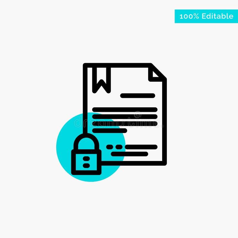 Elektronische Handtekening, Digitaal Contract, Document, van de het hoogtepuntcirkel van Internet turkoois het punt Vectorpictogr royalty-vrije illustratie
