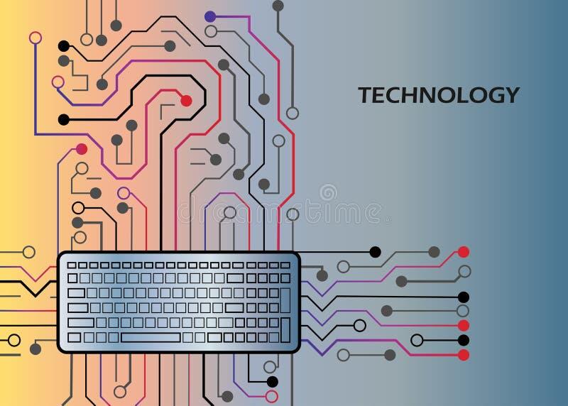 Elektronische hardwarecomputer, de kringenraad van de bewerkertechnologie en toetsenbord vectorontwerp royalty-vrije illustratie