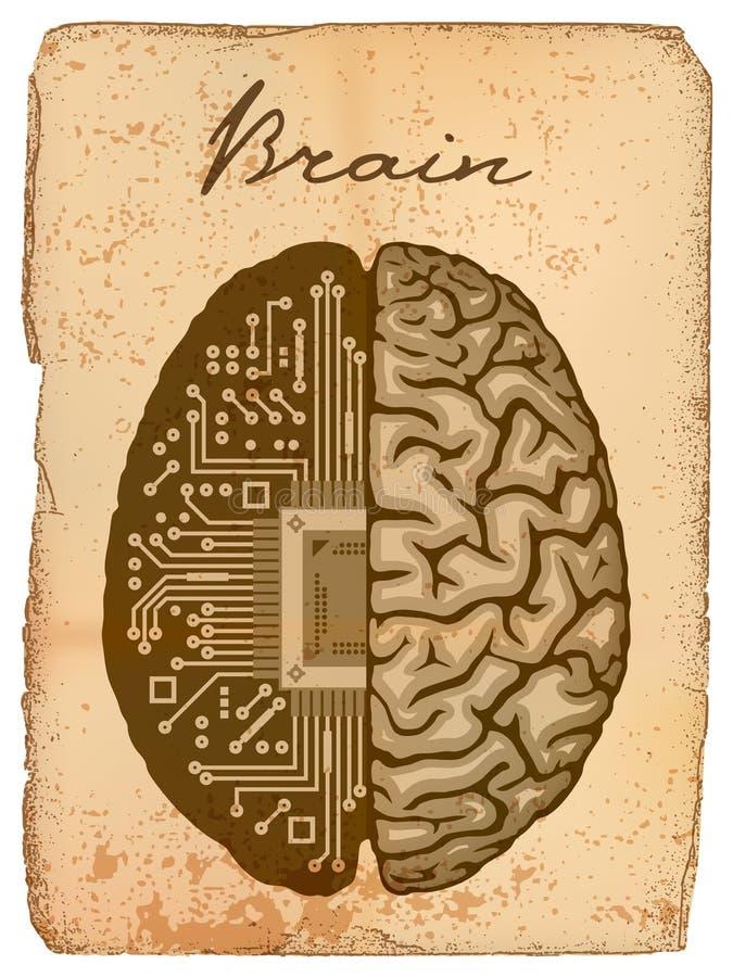 Elektronische hersenen. stock illustratie