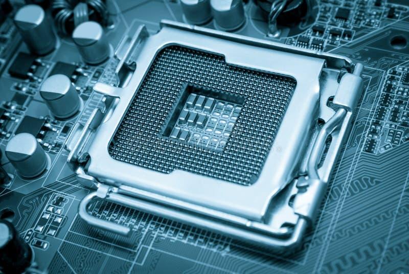 Elektronische inzameling - het Lege gestemde blauw van cpu contactdoos royalty-vrije stock afbeeldingen