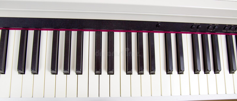 Elektronische Klaviertasten Musikinstrumenthobby stockfoto