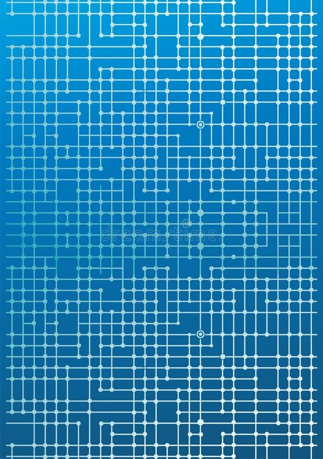 Elektronische kringen op blauw vector illustratie