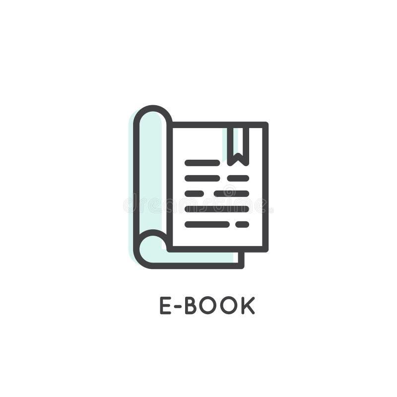 Elektronische Lezer met Referentie Vector Eenvoudig Pictogram stock illustratie