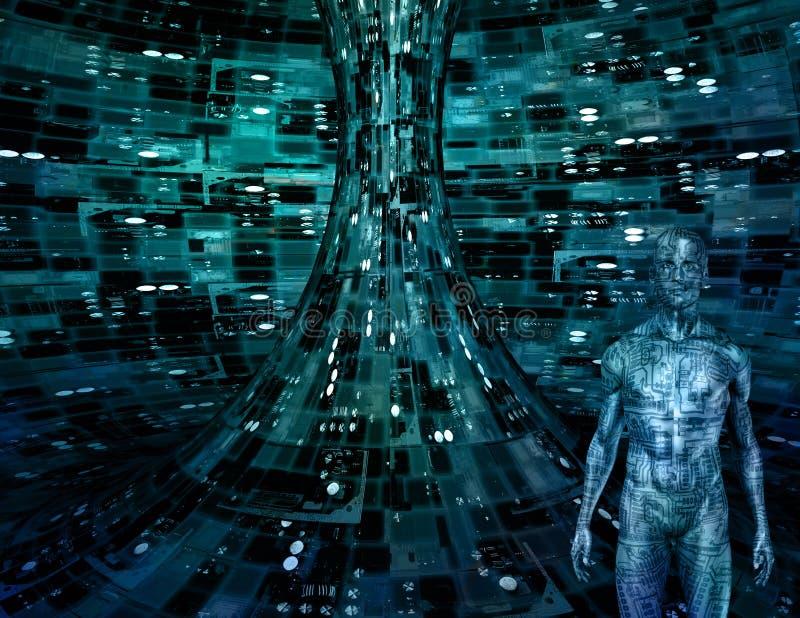 Elektronische Mens stock illustratie