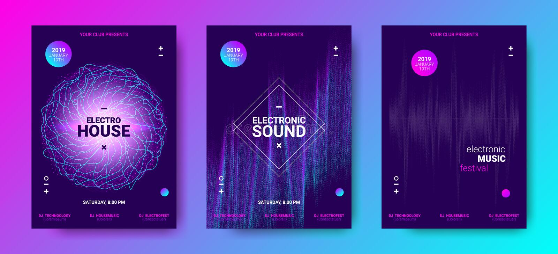 Elektronische Muziekaffiches met Correcte Omvang stock illustratie